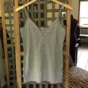Victoria's Secret Pink heather gray henley tank